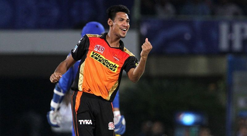 Mustafizur Rehman playing for Sunrisers Hyderabad in the IPL.