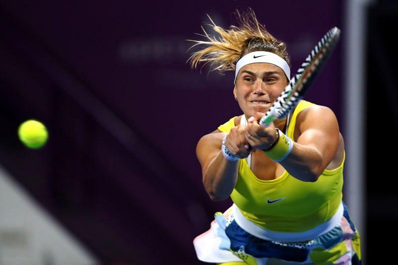 Aryna Sabaelnka at the Qatar Total Open 2020