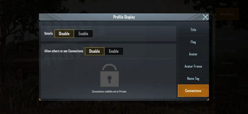 Disable the connection option