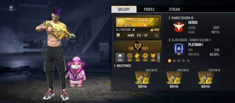Dev Alone's Free Fire ID, stats, K/D ratio and more
