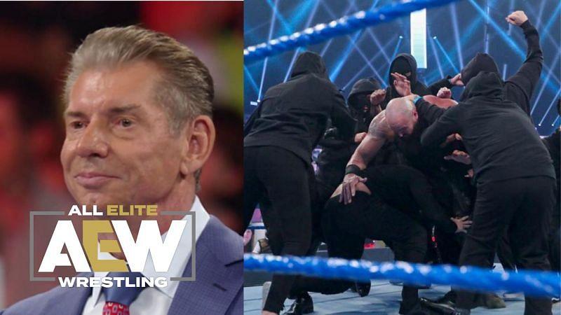 Vince McMahon, RETRIBUTION attacking Braun Strowman on SmackDown.