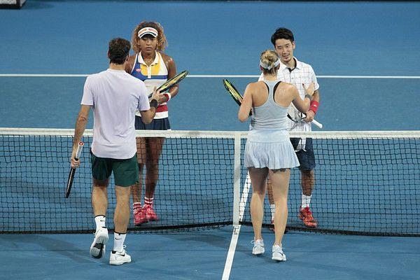 Naomi Osaka almost ran Roger Federer over once