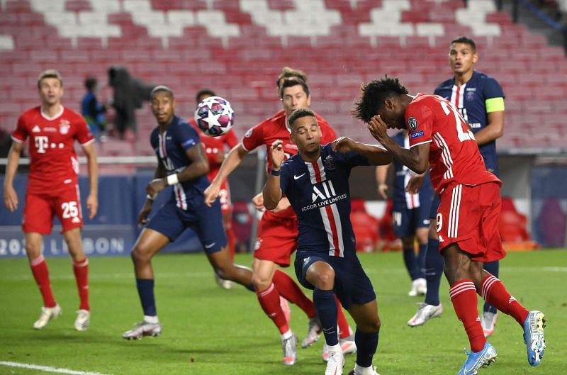 Coman heading in the winner in the Champions League Final.