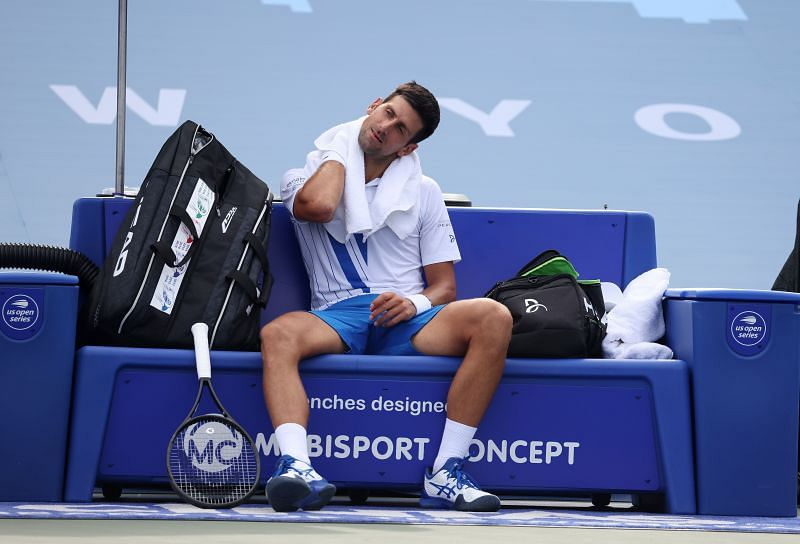 Novak Djokovic battled injuries throughout the match