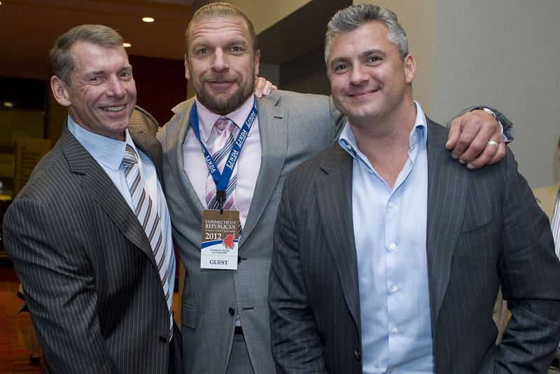 WWE Chairman Vince McMahon, Shane McMahon, and Triple H together in WWE