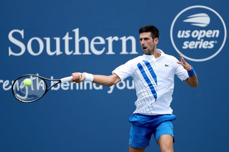 Novak Djokovic plays a forehand at 2020 W&S Open