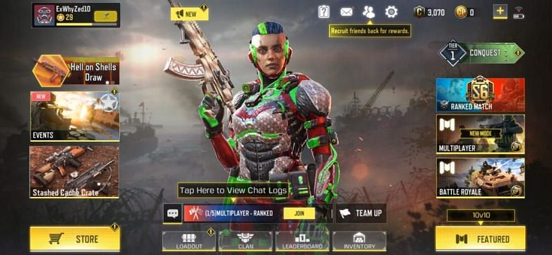 Open COD Mobile and click on the Loadout option