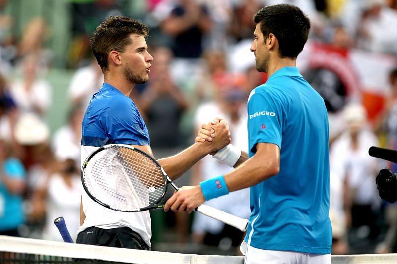 Dominic Thiem (L) and Novak Djokovic at the 2016 Miami Open