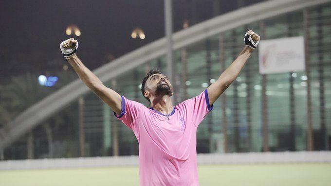 Jaydev Unadkat celebrates RR