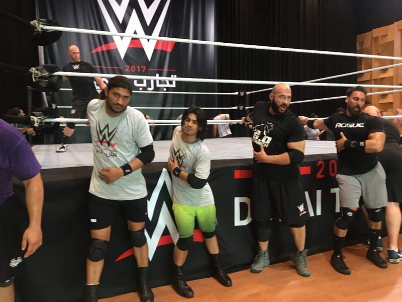 Dinesh Kumar (second from left) at the 2017 WWE Tryouts in Dubai