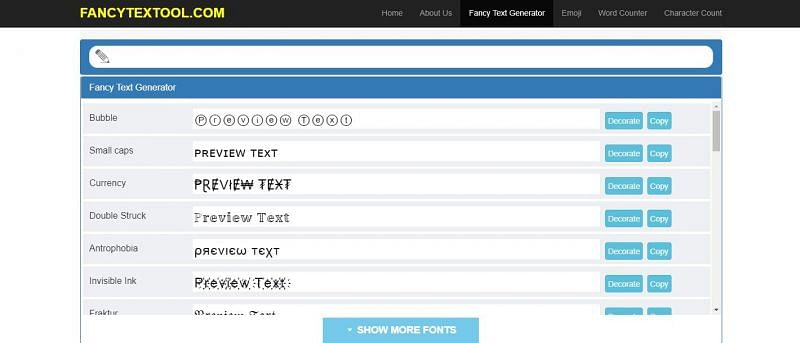 FancyTextTool is a website players can use to generate different kinds of fonts and symbols for their name
