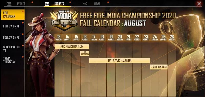In-game schedule of Free Fire Indian Championship 2020 Fall