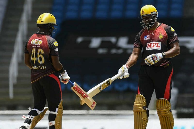 Skipper Kieron Pollard (R) will hope that his side makes it four out of four this CPL match