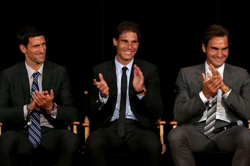Roger Federer, Rafael Nadal and Novak Djokovic have won a total 56 Grand Slam trophies combined