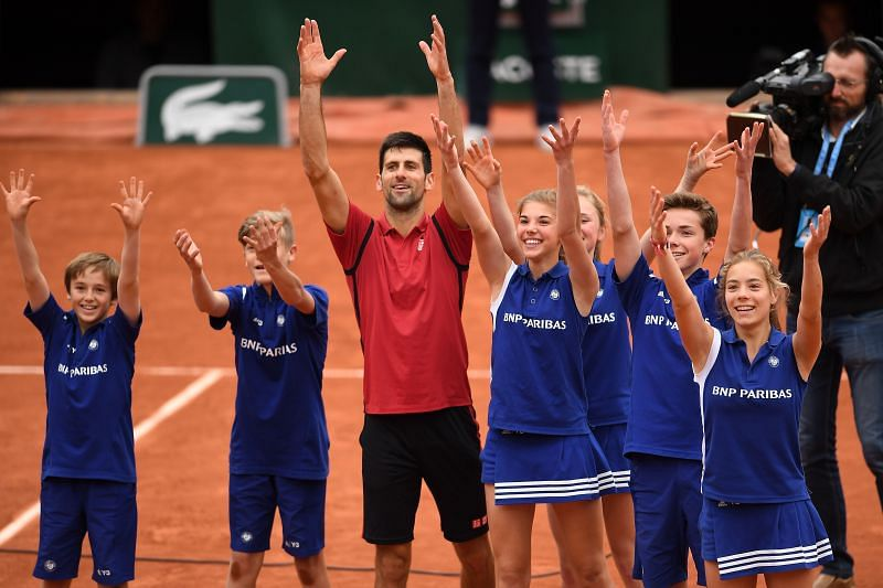 Novak Djokovic celebrates at the 2016 French Open