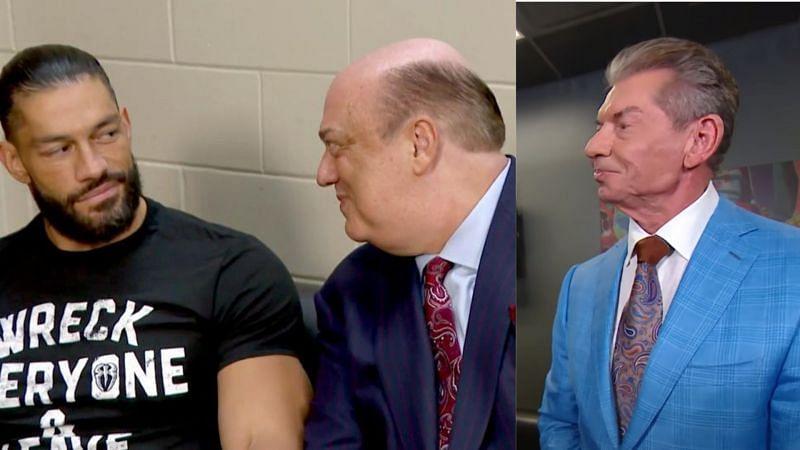 Roman Reigns, Paul Heyman and Vince McMahon.
