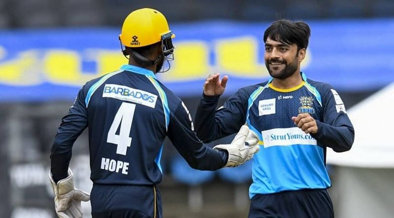 Shai Hope (L) and Rashid Khan (R) will have to come good for the Tridents in this CPL match