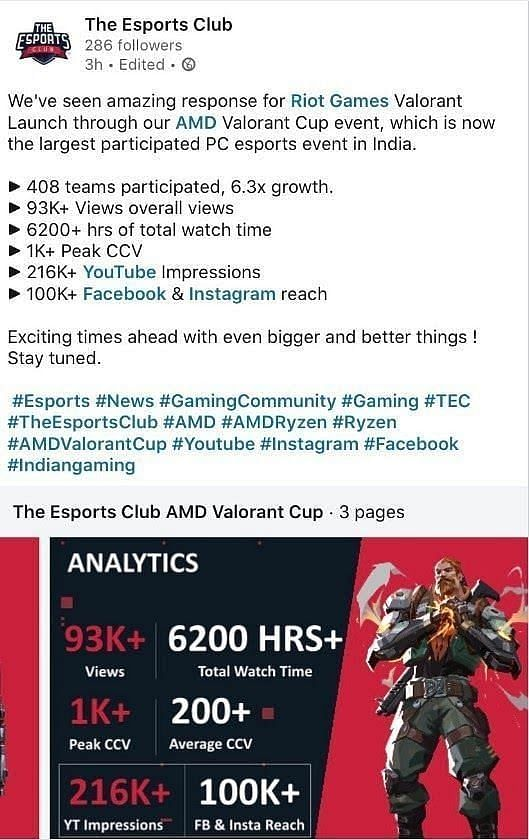 The image is taken from the Facebook page of The Esports Club.
