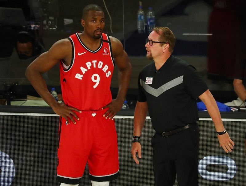Serge Ibaka will be relied upon to give Toronto the advantage inside the paint against Boston Celtics
