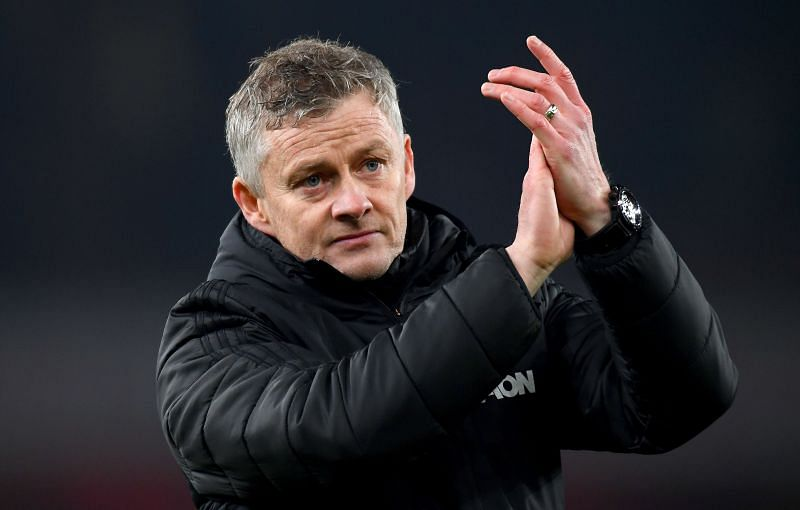 Ole Gunnar Solskjaer, Manager of Manchester United acknowledges the fans