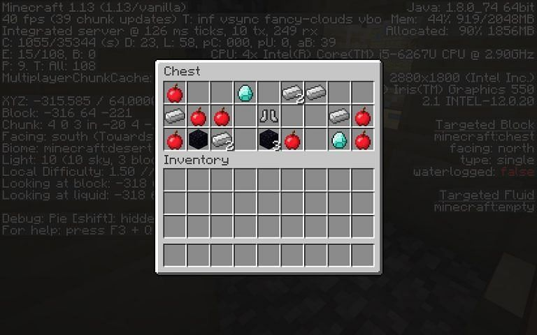 Loot in one of the blacksmith villages (Image credits: Minecraft Seed HQ)