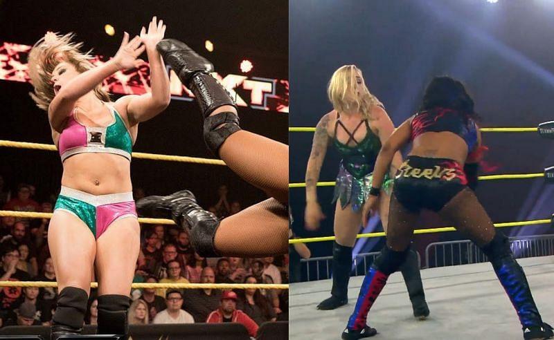 Kimber Lee wrestling in WWE NXT; Kimber Lee at IMPACT Wrestling