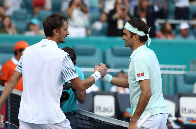 Daniil Medevedev (L) and Roger Federer at the 2019 Miami Open