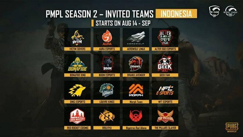 PMPL S2 Indonesia Invited Teams
