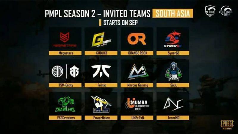 PMPL Season 2 South Asia Invited Teams