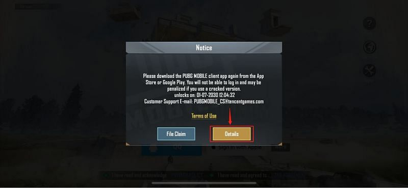 Press on theDetails button (Image Credits: tencentgames.helpshift.com)