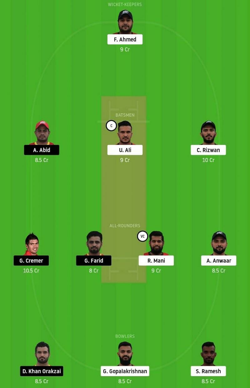 SBK Vs TAD Dream11 Team