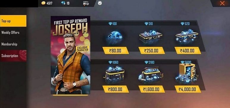 In-game purchase of Free Fire diamonds