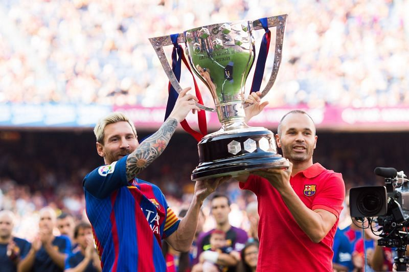Messi (ten) and Iniesta (nine) are the Barcelona players with most LaLiga titles