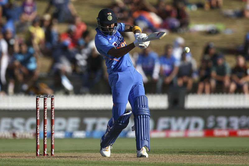 KL Rahul in action against New Zealand