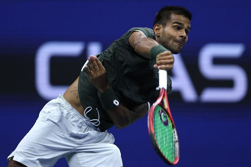 Sumit Nagal serves at 2019 US Open