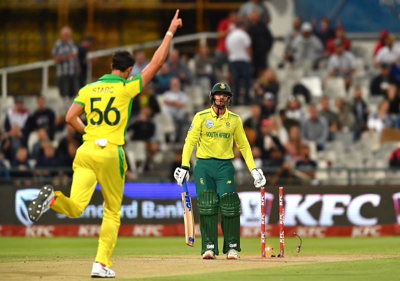 Mitchell Starc in the third KFC T20 International between South Africa and Australia.