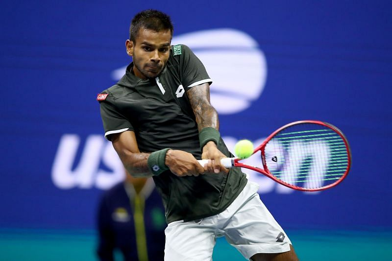 Sumit Nagal plays a backhand at 2020 USO