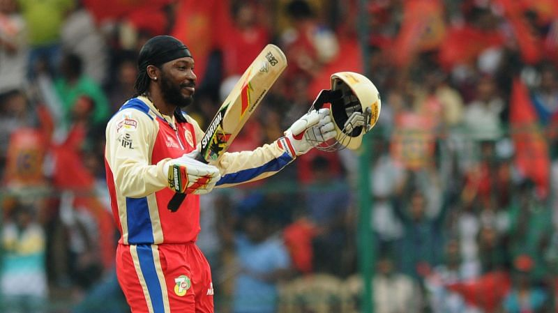 Chris Gayle holds the record for the highest individual score (175*) in IPL history. Image Credits: RCB
