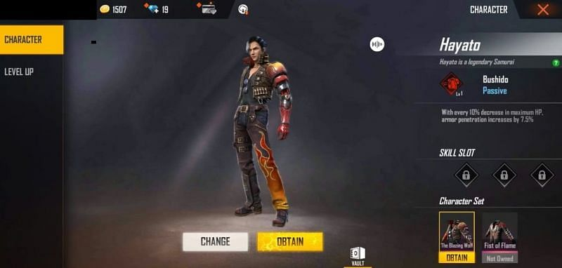 Hayato character in Free Fire