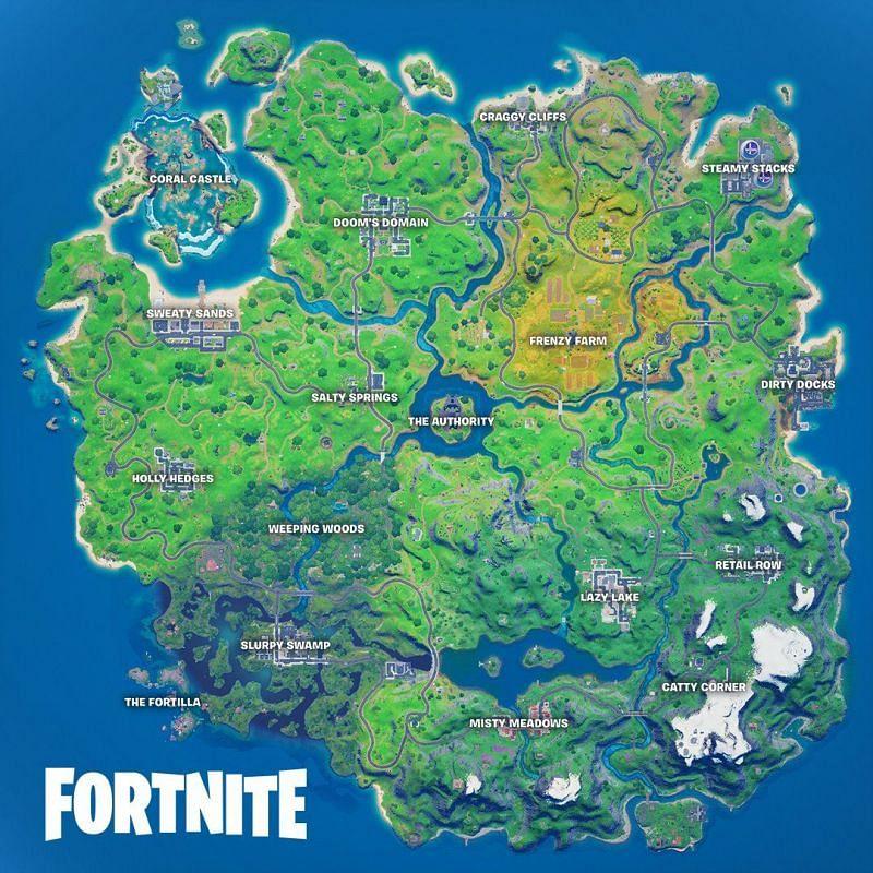 The Fortnite Chapter 2, Season 4 map (Image Credits: Fortnite News/ Twitter)