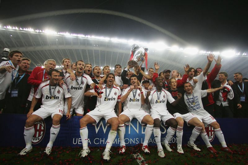 AC Milan celebrate after winning their sixth UCL crown