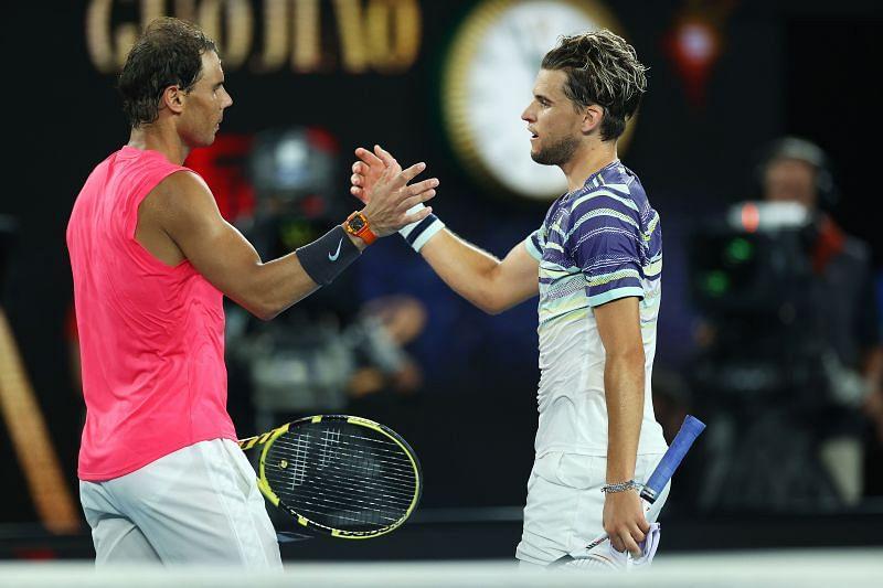 Rafael Nadal (L) and Dominic Thiem (R)