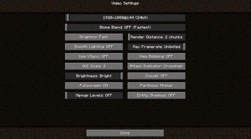 Best Minecraft settings for optimum performance Minecraft with Optifine HD (Image credits: Reddit)