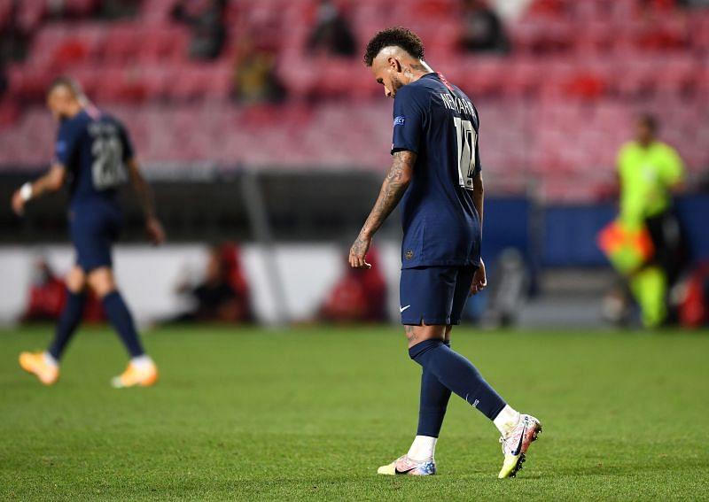 Neymar of Paris Saint-Germain looks dejected during the UEFA Champions League Final loss