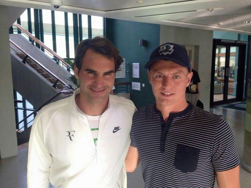 Toni Kroos met Roger Federer at the All England Lawn Tennis Club in 2015