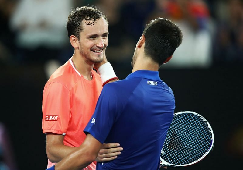 Daniil Medvedev (L) and Novak Djokovic at the 2019 Australian Open