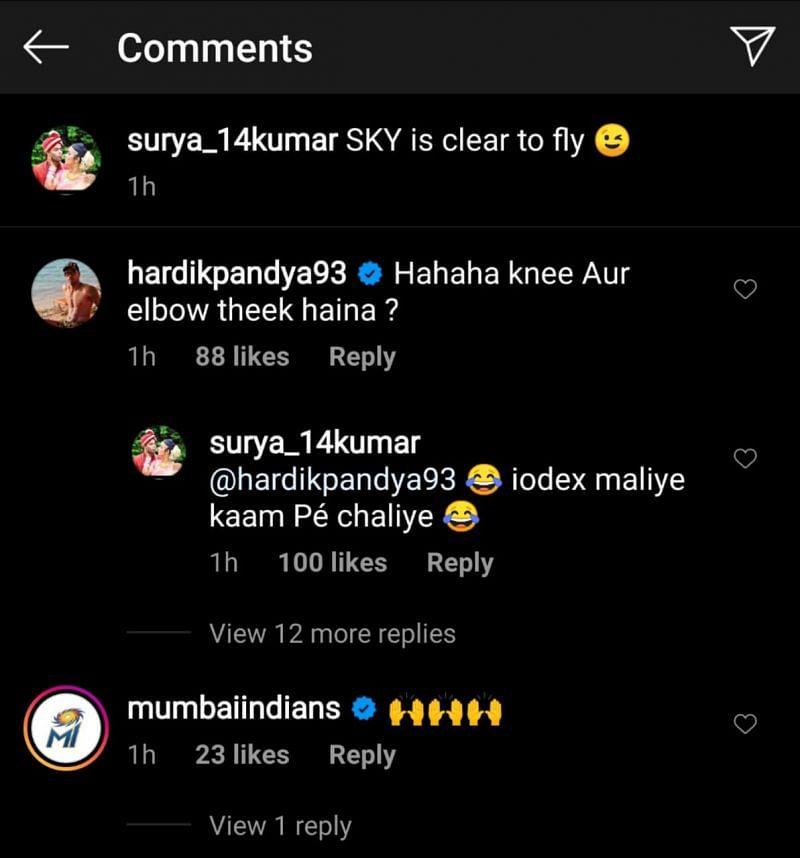 The funny exchange on Instagram between Hardik Pandya and Surya Kumar Yadav.