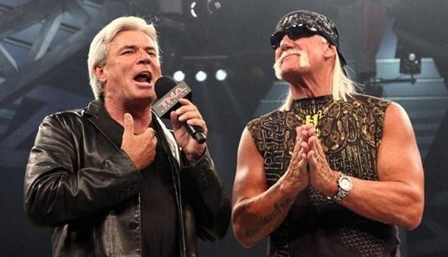 Eric Bischoff and Hulk Hogan in TNA; the duo also worked together on WCW