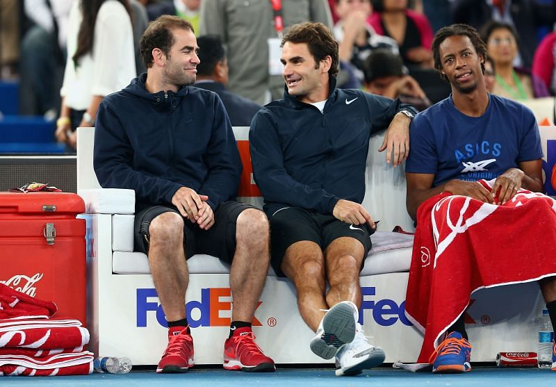 (From L to R) Pete Sampras, Roger Federer and Gael Monfils