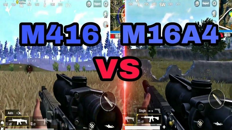 A detailed guide comparing M416 and M16A4 weapons in PUBG Mobile (Image Credit: Fardin Dhrubo/YT)